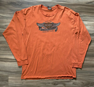Vtg Harley Davidson Long Sleeve Tee Shirt Orange Troutdale OR Size L Made In USA