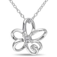 Sterling Silver Diamond Flower Pendant Necklace With Chain 925 GH I2;I3