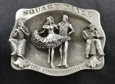 SQUARE DANCE DANCING MUSIC 1987 COMMEMORATIVE VINTAGE BELT BUCKLE MADE IN USA #d