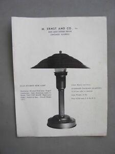 "M Ernst Lamp Ad Poster Advertisement Salesman Sample 11"" x 8 1/2"" Chicago Deco"