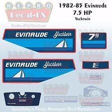 1982-85 Evinrude 7.5 HP Yachtwin Outboard Reproduction 9 Pc Marine Vinyl Decal
