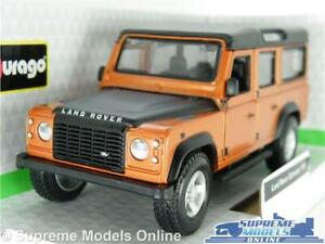 LAND ROVER DEFENDER 110 MODEL CAR 1:32 SCALE BURNT ORANGE LWB 4X4 BURAGO K8