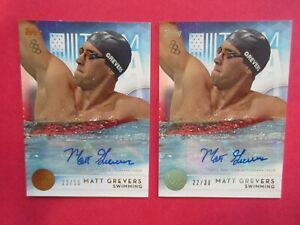 Lot of 2 2016 Topps Olympic Matt Grevers Bronze, Silver Auto Cards #21 /30, /50