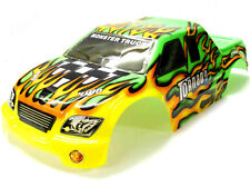 08303 1/8 Scale RC Nitro Monster Truck Body Shell Cover Green Flame Cut