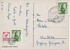 AK: Attersee Mischfrankatur mit PIATNIK Kinderpost + 2 x 2 Gr. Trachten 1948