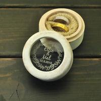 Custom Vintage White Ring Box Ring Bearer Box Wedding Ring Box Glass Ring Holder
