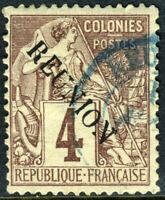 Reunion 1891 French Colony 4¢ Purple Brown SG #19 VFU N911