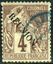 Reunion 1891 French Colony 4¢ Purple Brown SG #19 VFU N911