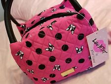 NWT Luv Betsey Johnson Pink Black Lunch Box Tote Bag Insulated Dog Puppy Satchel
