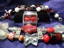 Woman's Narmi Watch & 2 Beaded Bands **Black & Red Chunky **Vintage** B77-B085