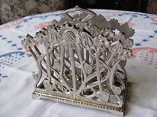 Jugendstil Briefständer Serviettenständer Briefhalter Halter Metall Silberfarbig