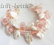 2Strands 8'' 12mmx18mm White Biwa Freshwater Pearl Pink Crystal Bracelet
