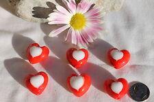 Love Beads Heart Handmade Lampwork  Beads Red & White /6 beads