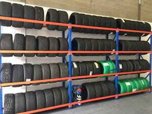 TYRE RACKING ,3 x BAYS OF DEXION TYRE STORAGE, VERY STRONG