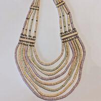 Vintage Multi Strand Pastel Colors Hieshi Bead Tribal Wood Beaded Necklace Boho