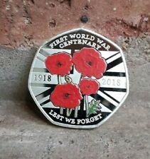 LEST WE FORGET COIN SOUVENIR FIRST WORLD WAR 1918 coloured / KEW GARDENS 50P UK