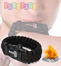 Black Survival Bracelet Outdoor Paracord Flint Fire Starter Scraper Whistle