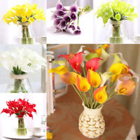 10Pcs Artifical PU Real Touch Calla Lily Flower Bouquet Wedding Party Home Decor