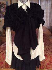 ICONIC CHIC Comme Des Garçons draped/ruffled BLACK wool vest/top size M