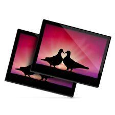 2 x Glass Placemats 20x25 cm - Kissing Pigeons Love Birds Couple  #24008