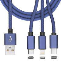 3in1 Multi Lade Kabel 8 Pin Micro USB Type C für Samsung Galaxy S8 Plus Blau