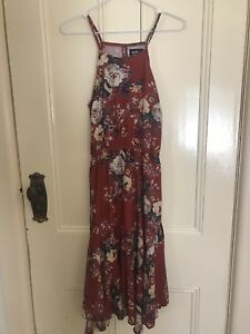 Dotti red dress with rose print size 6