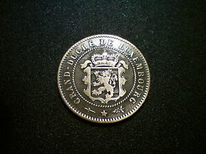 1854 LUXEMBOURG 5 CENTIMES COIN. SUPERB GRADE AU