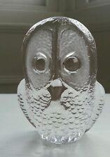 Mats Jonasson Glass Owl Paperweight Signed
