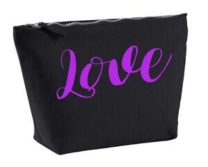 Love Make Up Toiletriy Bag In Black Colour Purple Makeup