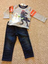 New w/Tags*GAP Brand Toddler Boy's L/S Outfit w/T-Rex & Denim Jeans*Size 2