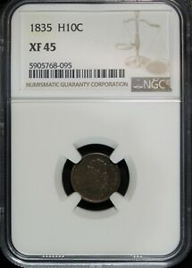 1835 NGC XF 45 Capped Bust Silver Half Dime ☆☆ Great Set Filler ☆☆ 095