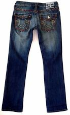 True Religion sz 27x34 Johnny Super T Dark wash Brown Signature pockets EUC
