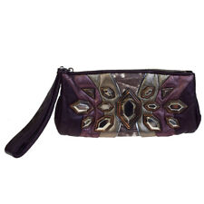 Authentic MIU MIU Bijou Clutch Hand Bag Pouch Lizard Leather Purple 01EA803