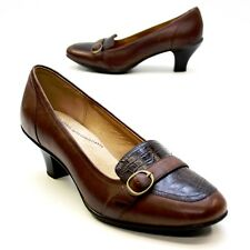 Softspots Brown Ladies Size 11 Wide Leather Buckle Slip-on Pumps Heels Shoes EUC
