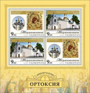 Tajikistan Religion Stamps 2020 MNH Christianity Orthodoxy Churches 4v M/S