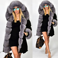 Aofur Women Winter Snow Warm Faux Fur Collar Thick Hooded Overcoat US Size