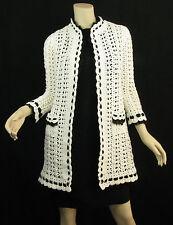 Chanel 05P White Crochet Black Silk Trim Long Cardigan Sweater Jacket Coat S 36