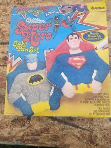 1977 Wilton Super Hero Cake Pan Set - Superman & Batman