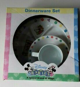 Disney Mickey Mouse Alphabet Print Childs Dinnerware Plastic Set Cup Bowl Plate