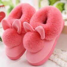 Women Furry Rabbit Ears Plush Velvet Slippers Indoor Soft Comfort Home Shoes