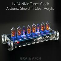 IN-14 Arduino Shield Nixie Tubes Clock in Acrylic Case [Temp sensor GPS Remote]