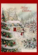 Snow Covered Home and Snowman Box of 18 Christmas Cards by Designer Greetings