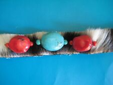 Red Coral , Turquoise & Leather Bracelet by Paige Wallace