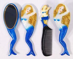 Hand Painted Art Hair Brush Mirror Comb Blue Mermaid Design (Set of 3) C044M