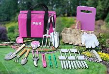 49 teiliges Gartenset Pink mit Korb und Tasche