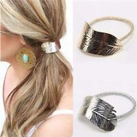 Fashion Women Lady Leaf Hair Ties Band Rope Headband Elastic Ponytail HolderLN