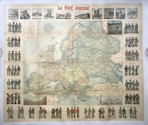 EUROPE LE PETIT JOURNAL 1890 by MENETRIER ORIGINAL WALL MAP LITHOGRAPHY ON LINEN