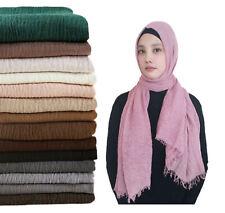 New Crinkle Scarf Hijab Plain Maxi Headscarf Crimp Scarves Shawl Ruffle 50 color