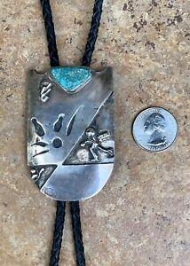 VTG Native Modernist Signed FG Wellington Turquoise & Sterling Silver Bolo Tie