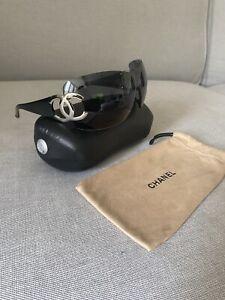 Chanel 4124 127/87 Wrap Around Shield Sunglasses Vintage Y2K Black Silver CC VGC